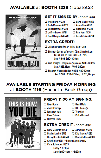 Machine of death vol2 updates heres a full scavenger hunt list of who will be signing either tihyd or mod books at comic con you can download this checklist as a pdf if you want to fandeluxe Gallery